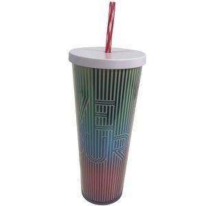 Starbucks Love Holographic Metallic Stripe Cold Cup Tumbler Travel Straw
